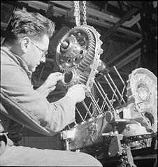 Merlin engine being built