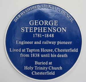 George Stephenson's Blue Plaque in Chesterfield Train Station.