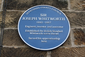 Sir Joseph Whitworth's blue plaque at Amber Mill