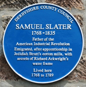Samuel Slater's plaque on his childhood home
